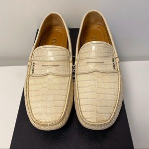 Men's Prada Crocodile Embossed Leather Loafers